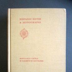 Libros de segunda mano: AÑO 1937. MARTÍN RICO Y ORTEGA. HISPANIC NOTES & MONOGRAPHS. E. DU GUÉ TRAPIER. 958 ILUSTRACIONES.. Lote 176085143