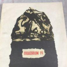Libros de segunda mano: QUADRUM REVUE D'ART MODERNE BRUSSELS ASSOCIATION POUR LA DIFFUSION ARTISTIQUE Nº 19 1965. Lote 176337658