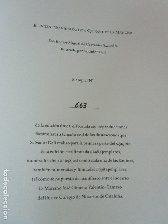 Libros de segunda mano: Don Quijote de la Mancha - 40 Ilustraciones Dalí - Ed Planeta - Fundación Gala Dalí - nº 663 de 998 - Foto 6 - 182145276