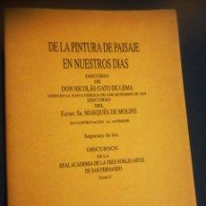 Libros de segunda mano: DE LA PINTURA DE PAISAJE EN NUESTROS DÍAS POR NICOLÁS GATO DE LERMA FACSIMILAR DE LA DE 1872. Lote 184056890