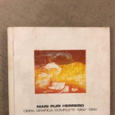 """Libros de segunda mano: MARI PURI HERRERO """"OBRA GRÁFICA COMPLETA 1962-1982"""". CAJA AHORROS VIZCAÍNA.. Lote 195266570"""