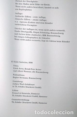 Libros de segunda mano: Malte Sartorius. Werkverzeichnis der Druckgraphik - Catálogo razonado de grabados 1987-1994. Firmado - Foto 4 - 222715768