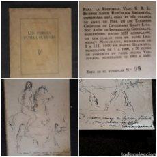Libros de segunda mano: JUAN CARLOS CASTAGNINO DEDICATORIA Y DIBUJO ORIGINAL EN LES FORCES TUMULTUEUSES VERHAEREN. VIAU 1944. Lote 270975363
