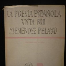 Libros de segunda mano: LA POESIA ESPAÑOLA VISTA POR MENENDEZ PELAYO. EMILIANO DIEZ ECHARRI. ED.NACIONAL 1956 315 PAG. Lote 10877824