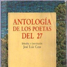 Libros de segunda mano: ANTOLOGIA DE LOS POETAS DEL 27. JOSE LUIS CANO. COLECCION AUSTRAL. 17 X 11 CM. 406 PAGINAS.. Lote 20583647