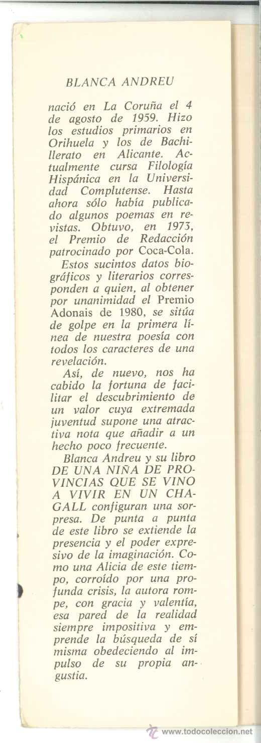 Libros de segunda mano: DE UNA NIÑA DE PROVINCIAS QUE SE VINO A VIVIR EN UN CHAGALL-Blanca Andréu-Dedicado autora1980.Poesía - Foto 2 - 27259239