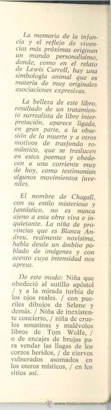 Libros de segunda mano: DE UNA NIÑA DE PROVINCIAS QUE SE VINO A VIVIR EN UN CHAGALL-Blanca Andréu-Dedicado autora1980.Poesía - Foto 4 - 27259239