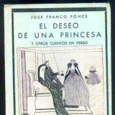 Libros de segunda mano: NUMULITE 0150 EL DESEO DE UNA PRINCESA Y OTROS CUENTOS EN VERSO ILUSTRADO JOSÉ FRANCO PONCE POESÍA. Lote 25086129