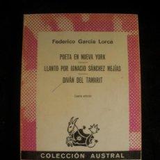 Libros de segunda mano: POETA EN NUEVA YORK.LLANTO SANCHEZ MEJIAS.LORCA. ESPASA CALPE. SIN PAGINAR. Lote 27029390