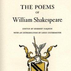 Libros de segunda mano: WILLIAM SHAKESPEARE. THE POEMS. 2 VOLS. LIMITED EDITIONS CLUB. Lote 29785651