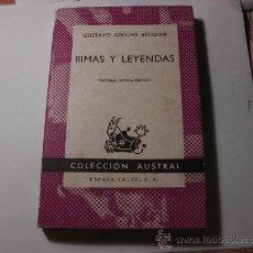 Livres d'occasion: RIMAS Y LEYENDAS GUSTAVO ADOLFO BÉCQUER 1972 L-469. Lote 31332189