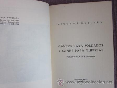 Libros de segunda mano: NICOLÁS GUILLÉN - CANTOS PARA SOLDADOS Y SONES PARA TURISTAS. Ed. facsímil de la de 1937- 1ª ED.1980 - Foto 3 - 33454667