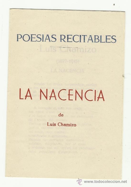 Poesias recitables - la nacencia - luis chamizo - Vendido en Subasta -  37385687