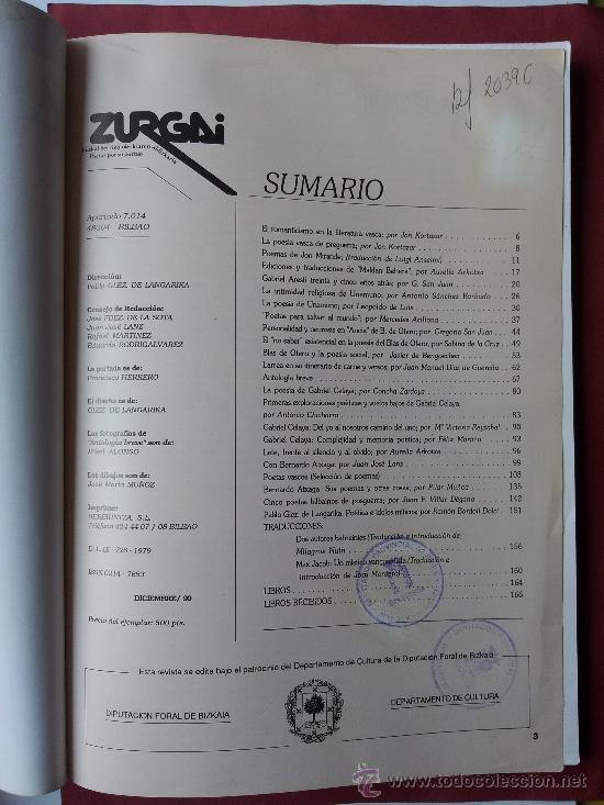 Libros de segunda mano: ZURGAI, ESPECIAL, POETAS VASCOS, EUSKAL HERRIKO OLERKIAREN ALDIZKARIA, POETAS POR SU PUEBLO - Foto 3 - 37897753