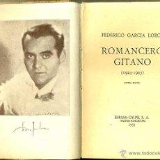 Libros de segunda mano: GARCÍA LORCA : ROMANCERO GITANO (ESPASA CALPE, 1937) . Lote 120270928