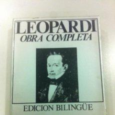 Libros de segunda mano: LOS CANTOS TOMO I - LEOPARDI - OBRA COMPLETA - EDICIÓN BILINGÜE - EDICIONES 29 - BARCELONA - 1978 - . Lote 43144237