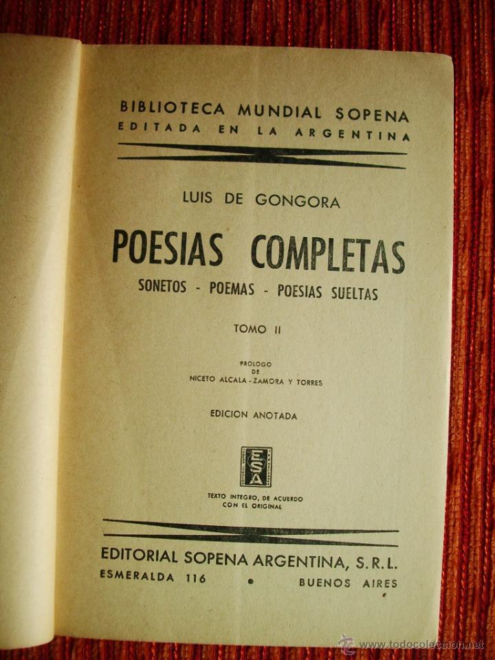 Libros de segunda mano: 1949-POESÍAS COMPLETAS-LUIS DE GÓNGORA-TOMO II-PRÓLOGO DE ALCALÁ-ZAMORA-EDITADO ARGENTINA-ORIGINAL - Foto 3 - 45336961