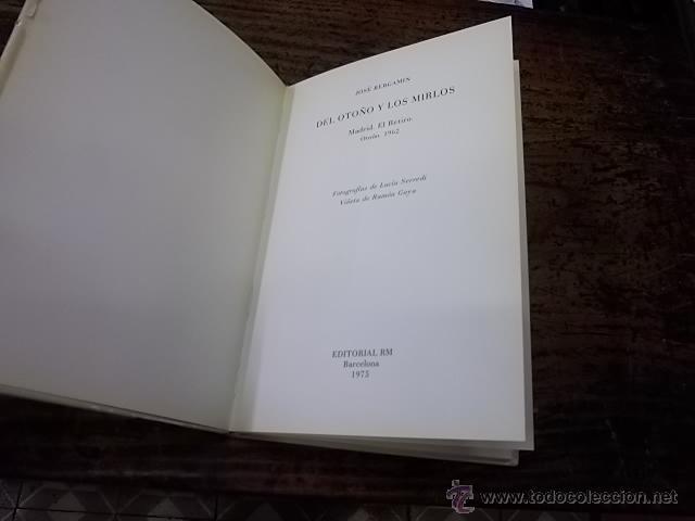 880.- JOSE BERGAMIN-DEL OTOÑO Y LOS MIRLOS-EDITORIAL RM (Libros de Segunda Mano (posteriores a 1936) - Literatura - Poesía)