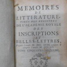 Libros de segunda mano: MEMORIES ACADEMIE ROYALE INSCRIPTIONS BELLES LETTRES, TOMO 52, 1771. CON TRES GRABADOS DESPLEGABLES. Lote 45861347