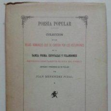 Libros de segunda mano: POESIA POPULAR, COLECCION DE LOS VIEJOS ROMANCES QUE SE CANTAN POR LOS ASTURIANOS. Lote 46567047