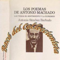 Libros de segunda mano: LOS POEMAS DE ANTONIO MACHADO, ANTONIO SANCHEZ BARBUDO, ED LUMEN, PALABRA EN EL TIEMPO N. 20, 1989. Lote 47153622
