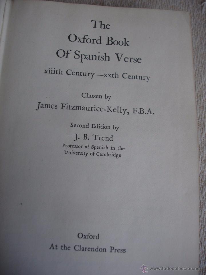 Libros de segunda mano: The Oxford Book of sapnish verse 1942 - Poesía, de la edad media al S. XX. en español - Foto 2 - 48654506