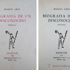 Libros de segunda mano: ARCE LAGO, MANUEL. BIOGRAFÍA DE UN DESCONOCIDO. 1954 [«ADONAIS»]. Lote 51241160