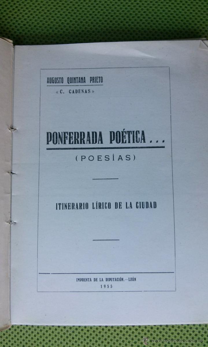 Libros de segunda mano: Ponferrada poética, Itinerario lírico de la ciudad - Foto 2 - 51512274