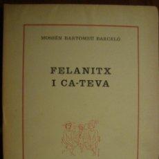 Libros de segunda mano: FELANITX I CA-TEVA. POESIES DE BARTOMEU BARCELÓ. TIRADA DE 35 EXEMPLARS. MALLORCA, 1974.. Lote 53106077