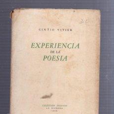 Libros de segunda mano: EXPERIENCIA DE LA POESIA. CINTIO VITIER. COLECCION ENSAYOS. LA HABANA. 1944.. Lote 55920688