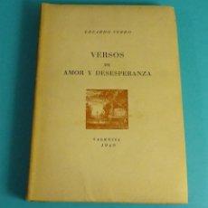 Libros de segunda mano: VERSOS DE AMOR Y DESESPERANZA. EDUARDO CERRO. Lote 56396908