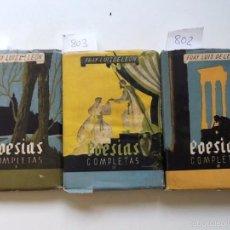 Libros de segunda mano: POESIAS COMPLETAS FRAY LUIS DE LEON. 1958. 3 VOL. CUBIERTA MAIRATA.COLECCION MAS ALLA 51,52,53. Lote 57118871