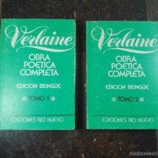 Libros de segunda mano: OBRA POÉTICA COMPLETA - VERLAINE - 2 TOMOS - EDICIÓN BILINGÜE - 333, 313 PP. -14,5 X 10 CM -. Lote 57353514