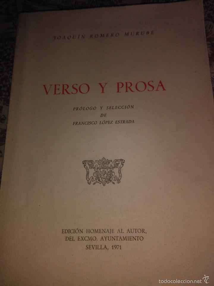 VERSO Y PROSA (Libros de Segunda Mano (posteriores a 1936) - Literatura - Poesía)