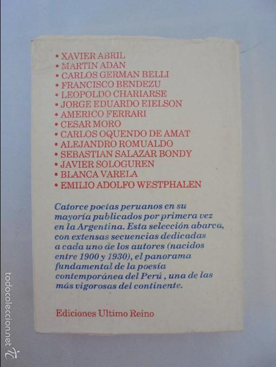 Libros de segunda mano: CATORCE POETAS DEL PERU. EL LIBRO DE UNOS SONIDOS. REYNALDO JIMENEZ. - Foto 18 - 58500800