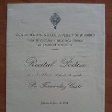 Libros de segunda mano: 1953 PROGRAMA RECITAL POÉTICO FERNÁNDEZ CUETO. Lote 58587989