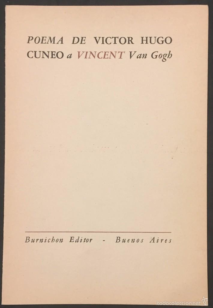 Poema De Victor Hugo Cuneo A Vincent Van Gogh 1960