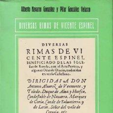 Libros de segunda mano: ESPINEL, VICENTE: DIVERSAS RIMAS. Lote 136116264