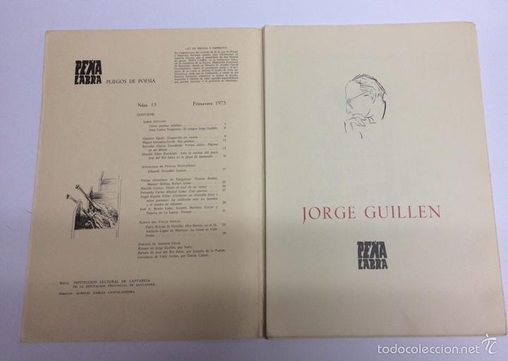 Libros de segunda mano: Pliegos de poesía Peña labra Nº 15 jorge guillen - Foto 2 - 61425369