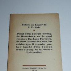 Libros de segunda mano: LIBRO - J V FOIX - COBLES EN HONOR DE JV FOIX, EXTRET D'INQUIETUD 1957, FIRMA AUTOGRAFA. Lote 71931071