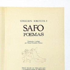 Second hand books: SAFO. POEMAS. CON 9 DIBUJOS Y 8 AGUAFUERTES ORIGINALES DE ALBERTO DUCE FIRMADOS.1974. ED. LIMITADA.. Lote 73011523