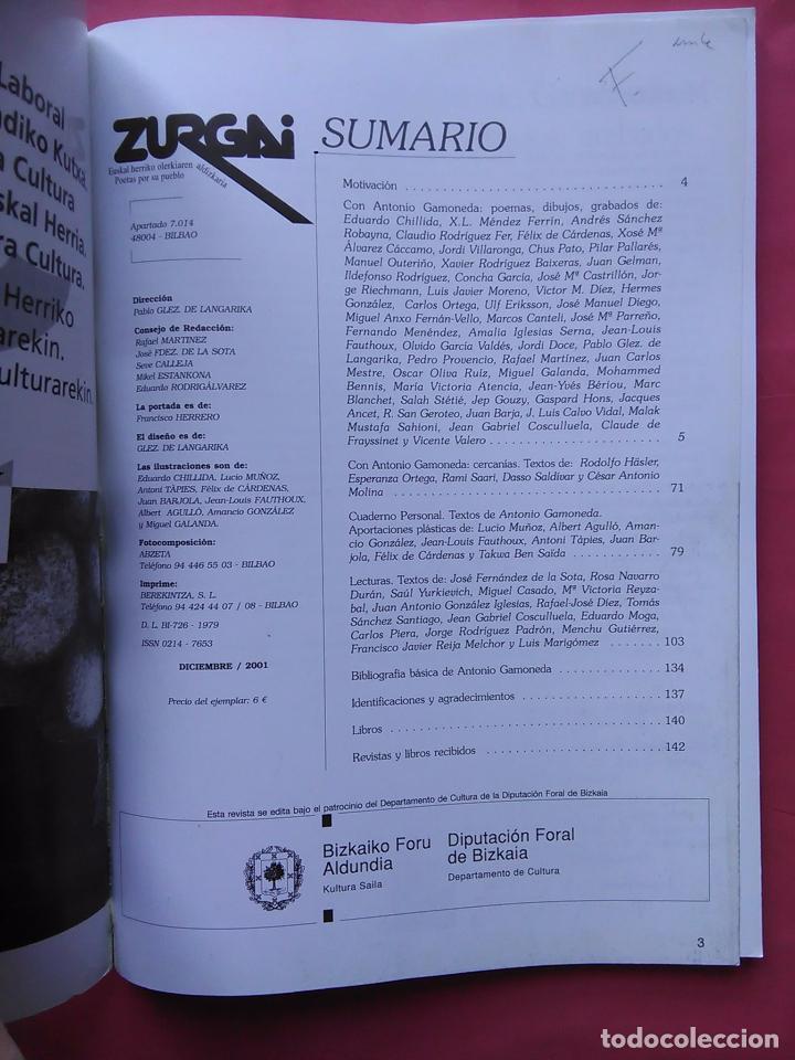Libros de segunda mano: REVISTA ZURGAI POETAS POR SU PUEBLO DICIEMBRE 2001 CON ANTONIO GAMONEDA - Foto 2 - 79664377