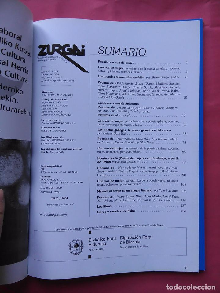 Libros de segunda mano: REVISTA ZURGAI POETAS POR SU PUEBLO JULIO 2004 VOZ DE MUJER EN CASTELLANO EUSKERA Y GALLEGO - Foto 2 - 79664597