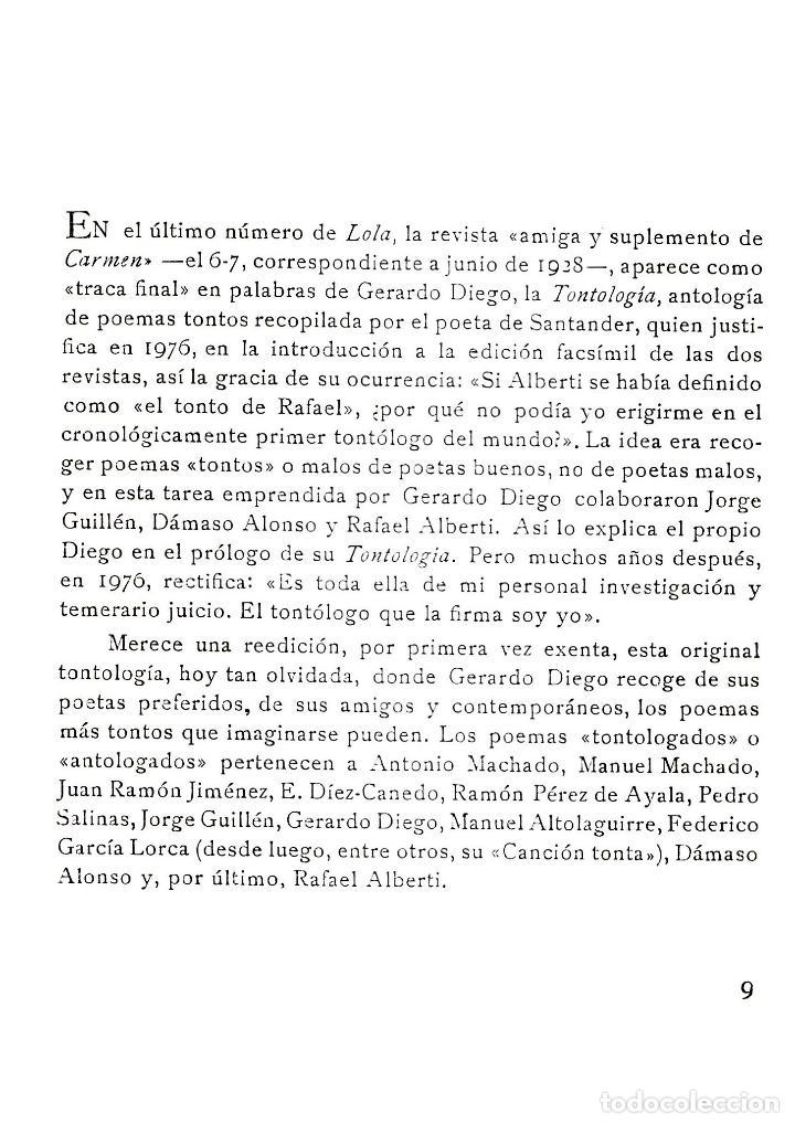 Libros de segunda mano: TONTOLOGÍA GERARDO DIEGO PRIMERA EDICIÓN EXENTA ANTIGUA IMPRENTA SUR MÁLAGA 2009 LORCA ALBERTI... - Foto 2 - 35705830