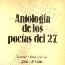 Libros de segunda mano: ANTOLOGÍA DE LOS POETAS DEL 27 – JOSÉ LUIS CANO. ESPASA CALPE. Lote 95717051