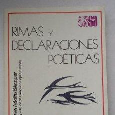 Libros de segunda mano: GUSTAVO ADOLFO BÉCQUER RIMAS Y DECLARACIONES POÉTICAS SELECCIONES AUSTRAL. ED.ESPASA CALPE AÑO 1977. Lote 96509599