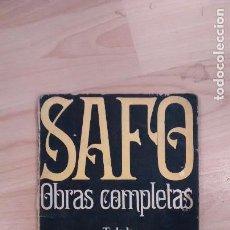 Libros de segunda mano: 'SAFO. OBRAS COMPLETAS'. Lote 98544411