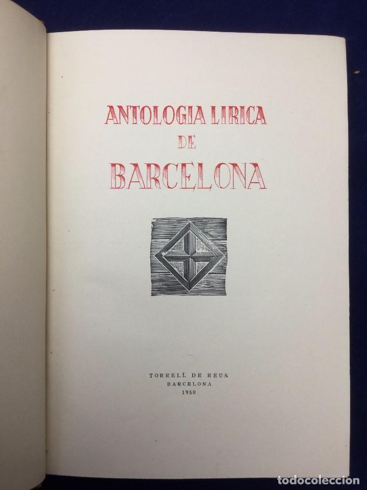 ANTOLOGÍA LÍRICA DE BARCELONA. 1950 (Libros de Segunda Mano (posteriores a 1936) - Literatura - Poesía)