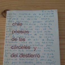 Libros de segunda mano: CHILE. POESÍAS DE LAS CÁRCELES Y DEL DESTIERRO. AÑO 1978. SERIE CULTURA 1. CONOSUR. Lote 110709011