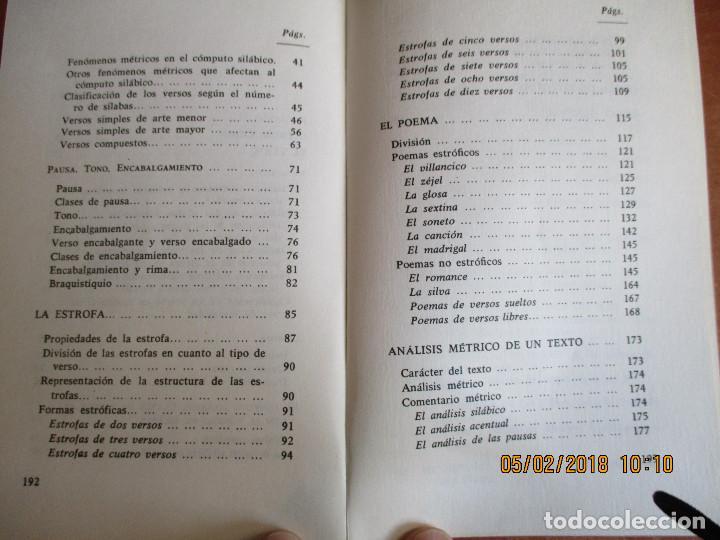 Libros de segunda mano: MÉTRICA ESPAÑOLA Antonio Quilis Ediciones Alcalá 3ª Edicion 1975 - Foto 4 - 111559883
